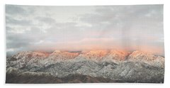 Sandia Mountains Rustic Sunset Landscape Beach Towel by Andrea Hazel Ihlefeld