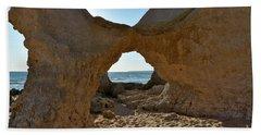 Sandstone Arch In Gale Beach. Algarve Beach Sheet