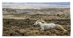 Sandwash Stallion Galloping Beach Towel by Joan Davis