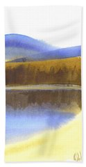 Beach Towel featuring the painting Sandy Blue Dusky Mountain Lake by Kip DeVore