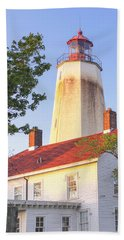 Sandy Hook Lighthouse Square Beach Sheet by Marianne Campolongo
