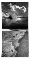 Sanibel Island Rain In Black And White Beach Towel