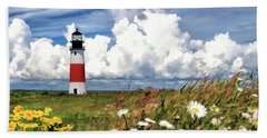 Beach Towel featuring the painting Sankaty Head Lighthouse by Christopher Arndt