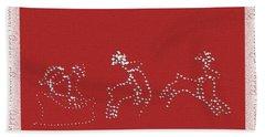 Santa And His Team Beach Towel by Ellen O'Reilly