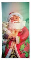 Santa And Lab Pup Beach Towel