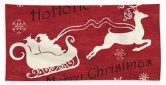Santa And Reindeer Sleigh Beach Towel