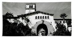 Santa Barbara Courthouse Black And White-by Linda Woods Beach Sheet by Linda Woods