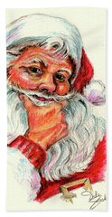 Santa Checking Twice Christmas Image Beach Towel