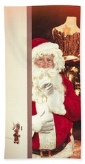 Santa Claus At Open Christmas Door Beach Towel
