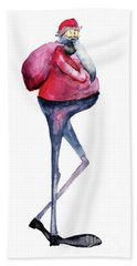 Santa Claus, Watercolor Illustration Beach Sheet