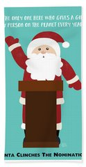 Santa Clinches The Nomination- Art By Linda Woods Beach Towel