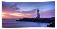 Santa Cruz Harbor Mouth Sunrise Beach Towel