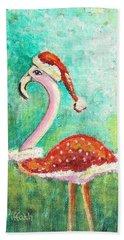 Santa Flamingo Beach Towel