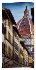 Santa Maria Del Fiore From Via Dei Servi Street In Florence, Italy Beach Towel