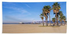 Santa Monica Beach Ca Beach Towel by Panoramic Images