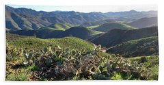 Beach Towel featuring the photograph Santa Monica Mountains - Hills And Cactus by Matt Harang