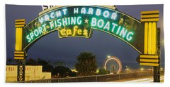 Santa Monica Pier Sign Santa Monica Ca Beach Towel by Panoramic Images