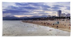 Santa Monica Sunset Panorama Beach Towel
