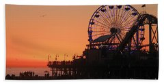 Santa Monica Sunset Beach Sheet by Suzanne Oesterling