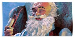Santa Rests Beach Sheet by Dave Luebbert
