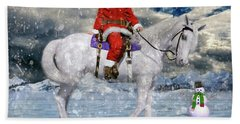 Santa Rides To Town Beach Towel