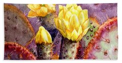 Beach Sheet featuring the painting Santa Rita Prickly Pear Cactus by Marilyn Smith