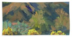 Beach Sheet featuring the painting Santa Rosa Mountains And Brittle Bush by Diane McClary