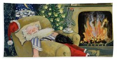 Santa Sleeping By The Fire Beach Towel