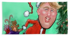 Beach Sheet featuring the digital art Santa Trump by Kevin Middleton