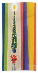 Santa's Christmas Tree Beach Towel