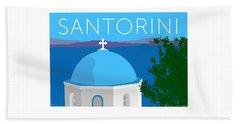Beach Towel featuring the digital art Santorini Dome - Blue by Sam Brennan