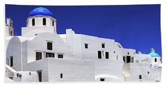 Santorini Greece Architectual Line 6 Beach Sheet by Bob Christopher
