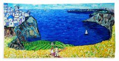 Santorini Honeymoon Beach Sheet by Ana Maria Edulescu