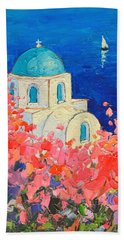 Santorini Impression - Full Bloom In Santorini Greece Beach Sheet by Ana Maria Edulescu