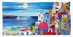 Santorini Moonlight Fantasy  Beach Towel