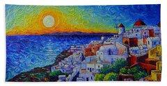 Santorini Oia Sunset Modern Impressionist Impasto Palette Knife Oil Painting By Ana Maria Edulescu Beach Towel