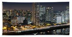 Sao Paulo Iconic Skyline - Cable-stayed Bridge  Beach Towel