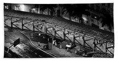Sao Paulo - Metallic Footbridge At Night Beach Sheet