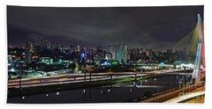 Sao Paulo Skyline - Ponte Estaiada Octavio Frias De Oliveira Wit Beach Sheet