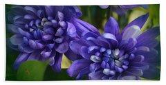 Sapphire Blue Chrysanthemums Beach Sheet