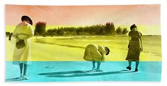 Beach Towel featuring the painting Sarasota Series Beachcombers by Edward Fielding
