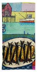 Beach Sheet featuring the painting Sardines by Mikhail Zarovny