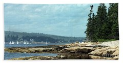 Saturday At Winter Harbor Beach Towel