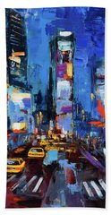 Saturday Night In Times Square Beach Towel