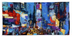 Saturday Night In Times Square Beach Towel by Elise Palmigiani