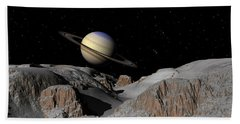 Saturn From The Moon Dione Beach Towel