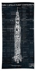 Saturn V Apollo Moon Mission Rocket Blueprint  1967 Beach Towel