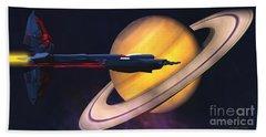 Saturn Visit Beach Towel
