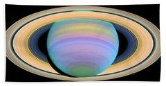Saturn's Rings In Ultraviolet Light Beach Towel