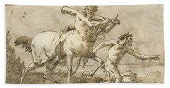 Satyr Leading A Centaur, Who Carries A Club, Bow And Quiver, Outside The Walls Of A City Beach Towel